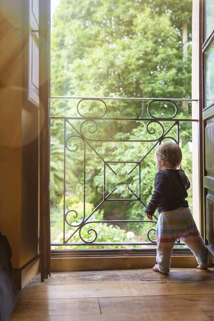 Back view of infant child standing at fence in opened doorway at home looking away on green trees background — Stock Photo