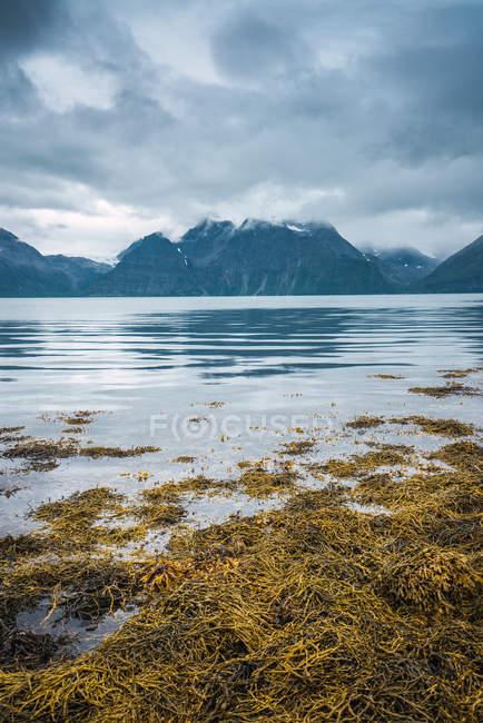 Eaux tranquilles du lac et montagnes rocheuses sous un ciel nuageux, Laponie — Photo de stock
