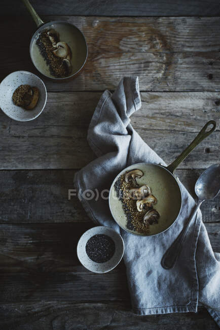 Chestnut Cream with Mushrooms — Stock Photo