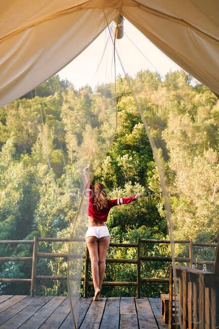 Женщина на балконе с видом на лес — стоковое фото