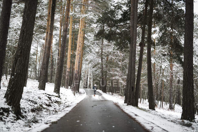Side view of young person in stylish outfit standing on asphalt forest road on majestic winter day — Stock Photo