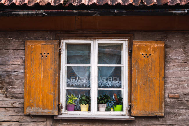 Wooden window with potted flowers of picturesque old building — Stock Photo