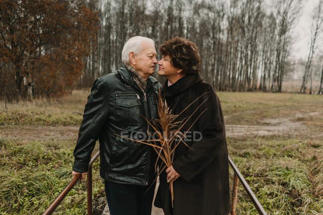 Homem idoso e mulher com um monte de plantas secas olhando um para o outro, enquanto em pé na ponte no parque de outono juntos — Fotografia de Stock