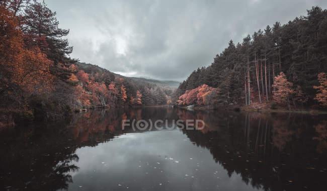 Rivière calme entre forêt d'automne et collines sous un ciel nuageux — Photo de stock