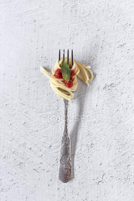 Espaguete com molho de tomate em garfo no fundo branco — Fotografia de Stock