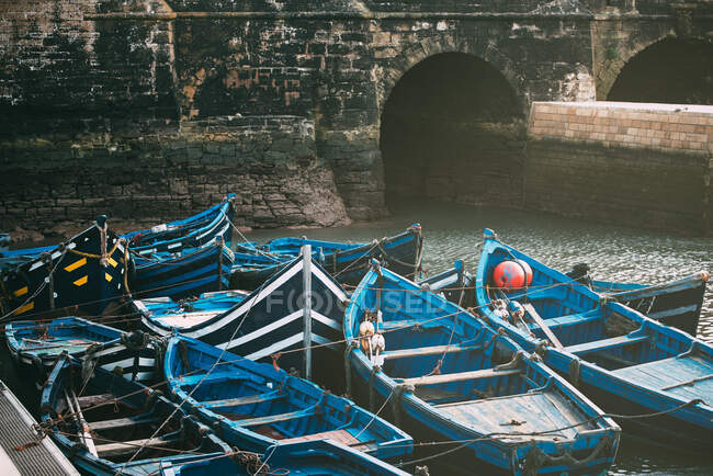 Fishing boats anchored in essaouira — Stock Photo