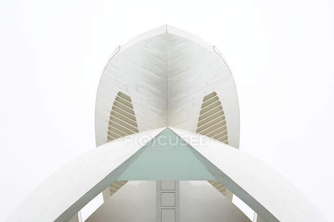 VALENCIA, ESPAGNE - 8 NOVEMBRE 2018 : Vue d'en bas d'une étonnante structure moderne contre le ciel blanc dans la Cité des Arts et des Sciences de Valence, Espagne — Photo de stock