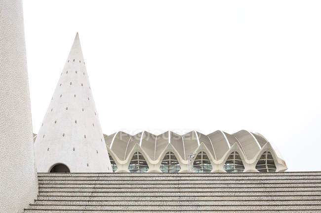 Валенсия, Испания - 8 ноября 2018: Различные необычные структуры, стоя на шаги против белое небо в города искусств и наук в Валенсии, Испания — стоковое фото