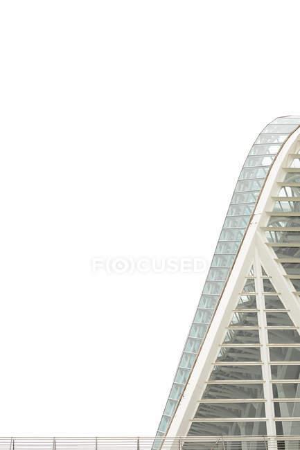 VALENCIA, SPAGNA - 8 NOVEMBRE 2018: Parte di un meraviglioso edificio moderno contro il cielo bianco nella città delle Arti e delle Scienze di Valencia, Spagna — Foto stock