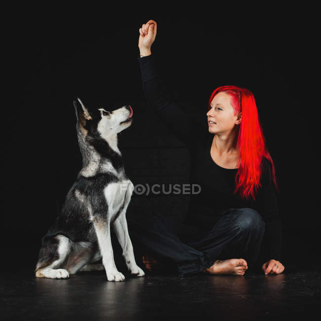 Young woman with bright red hair training puppy of adorable Siberian Husky — Stock Photo