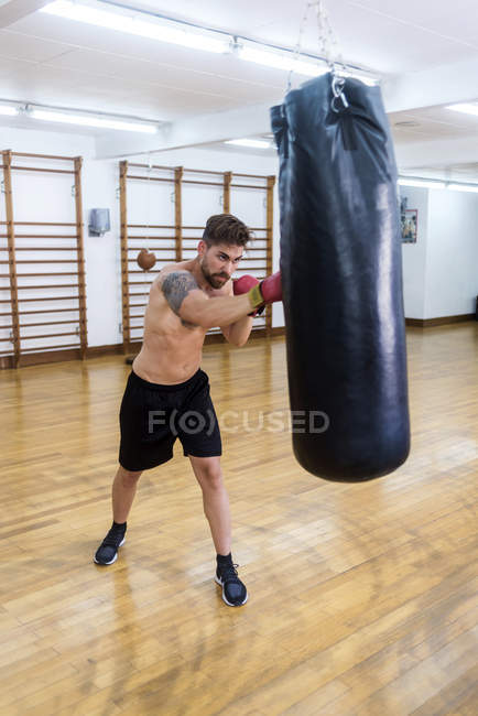 Young bearded guy training in gym with punch bag — Stock Photo