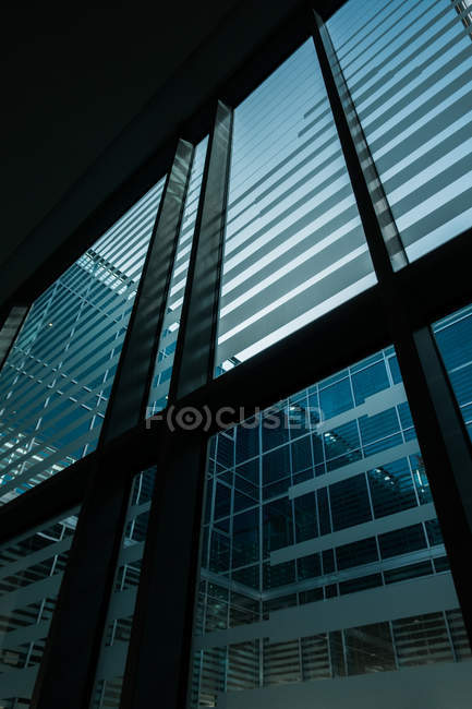 Big windows with stripes of modern building — Stock Photo