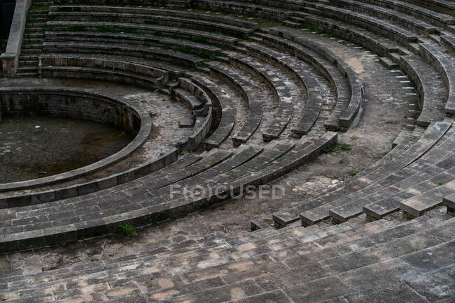 View of ancient grey seats of circus — Stock Photo