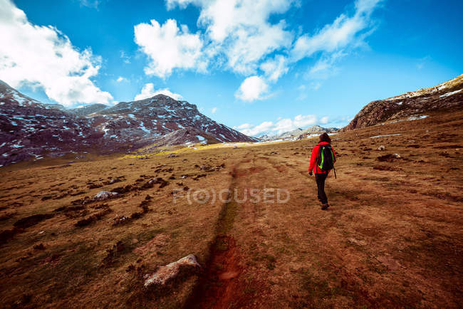 Back view of a woman with backpack walking on dry grass of wonderful valley towards spectacular mountain ridge — Stock Photo