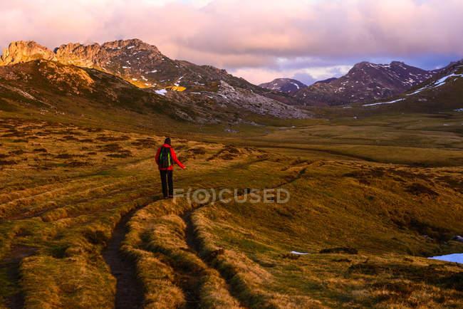 Visão traseira da pessoa com mochila andando na grama seca do vale maravilhoso em direção ao cume espetacular da montanha — Fotografia de Stock