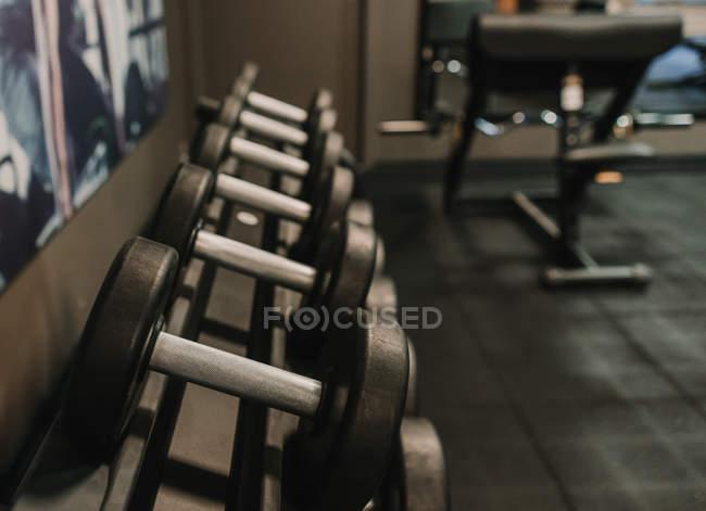 Набор гантелей лежит на стойке в спортзале — стоковое фото