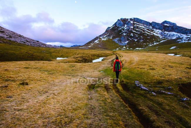 Задний вид человека с рюкзаком, идущего по сухой траве прекрасной долины к захватывающему горному хребту — стоковое фото