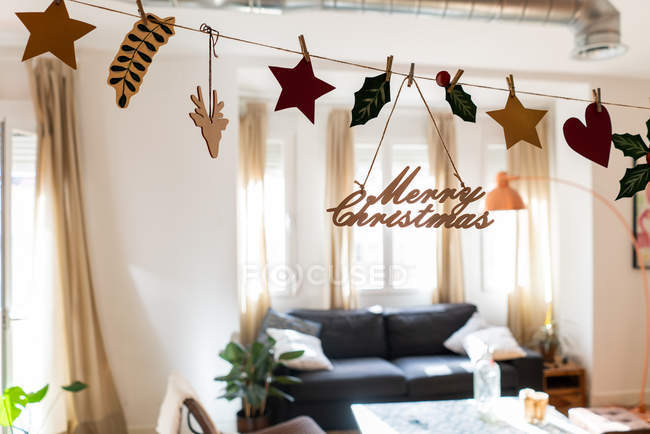 Light modern room decorated for Christmas — Stock Photo