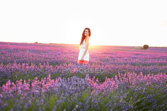 Young woman standing between violet lavender field in backlit — Stock Photo