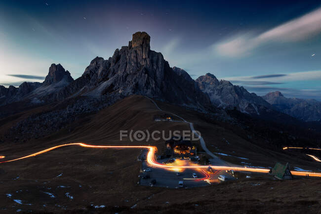 Passo Giau panoramic night view, Dolomites Alps, Italy — Stock Photo