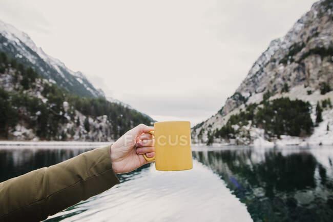 Людині, яка тримає жовту чашку біля дивовижної поверхні води між високими горами з деревами в снігу і хмарному небі в Піренеях. — стокове фото