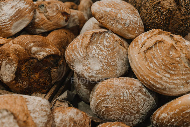 Fresh loaves of rye bread on trays — Stockfoto