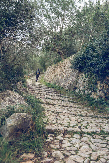Back view of woman with backpack standing on ancient stone path and looking away while spending time in wonderful park in Soller, Spain — Stock Photo