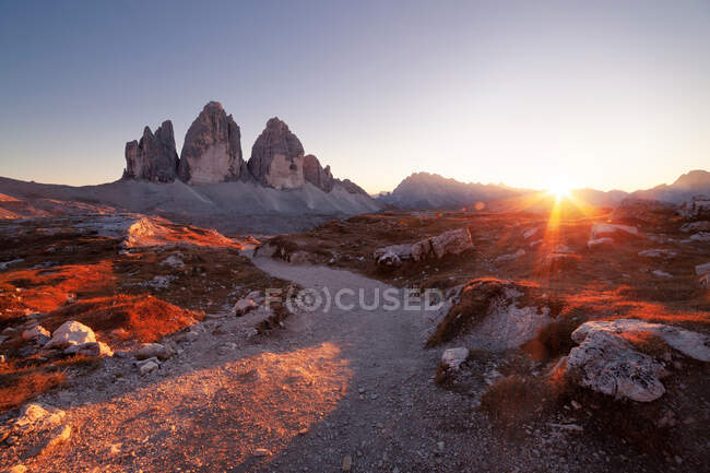 Panoramic view of Tre Cime at sunset, Dolomites Alps, Italy — Stock Photo