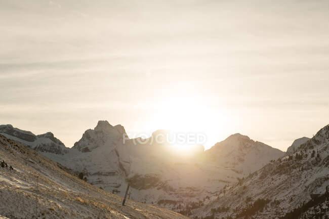 Вигляд на високі гори з деревами під час заходу сонця в Піренеях. — стокове фото