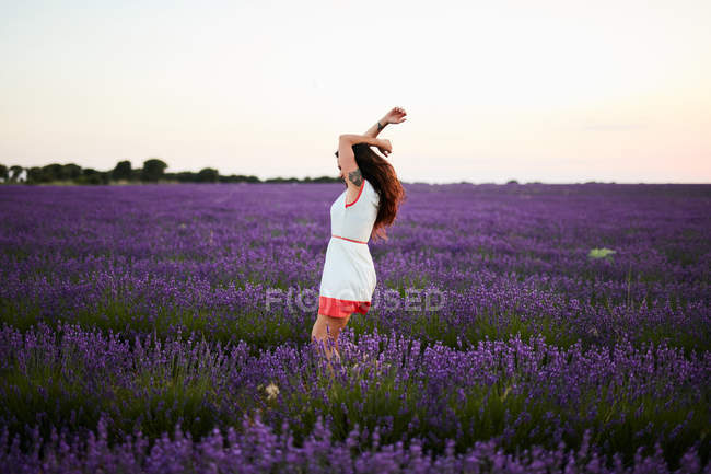 Mujer joven entre violeta campo de lavanda - foto de stock
