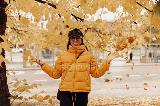 Portrait of young woman in stylish warm clothes throwing yellow leaves near tree on autumn street — Stock Photo