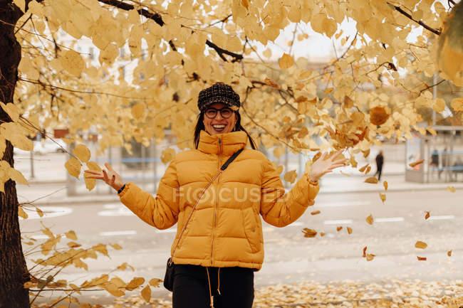 Retrato de mujer joven en ropa de abrigo con estilo arrojando hojas amarillas cerca del árbol en la calle de otoño - foto de stock
