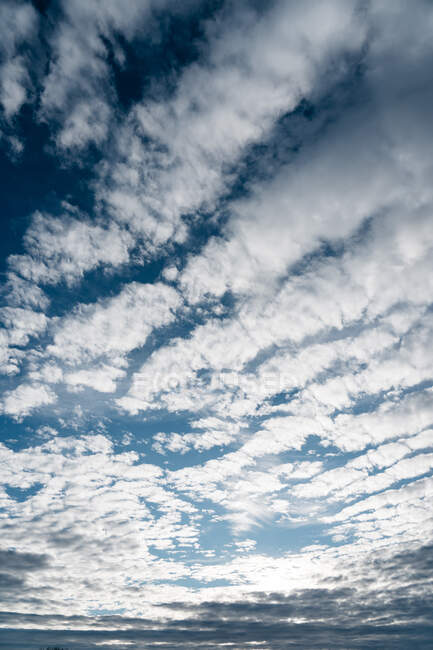 From below shot of soft white clouds floating on bright blue sky in Navarre, Spain — Stock Photo