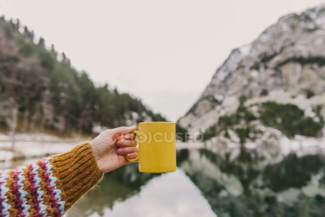 Crop hand of human holding yellow mug near amazing view of water surface between high mountains with trees in snow and cloudy heaven in Pyrenees — Stock Photo