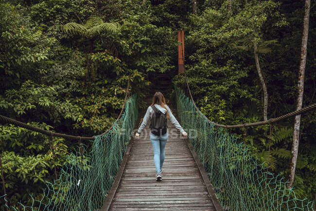 Back view young slim lady with backpack going on hanging bridge to verdant exotic woods in Malaysia — Stock Photo