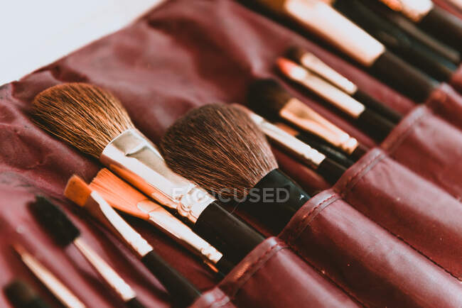 Set of brushes in bag — Stock Photo
