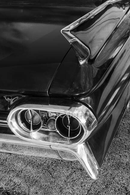 Rear details from an american classic car in black and white — Stock Photo