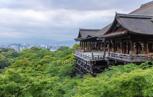 Beautiful zen park on cloudy day — Stock Photo