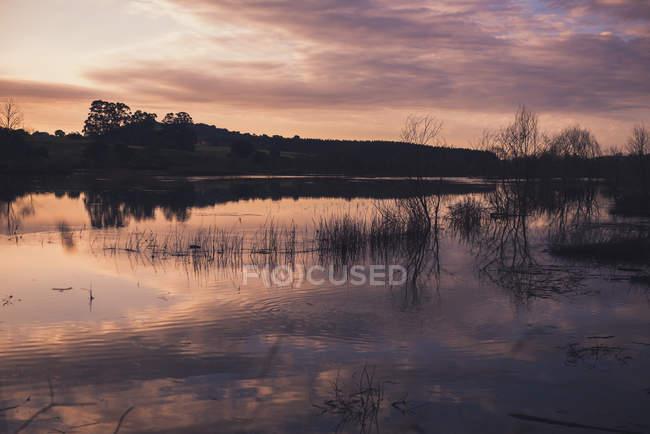 Облачное вечернее небо над спокойным озером в сельской местности — стоковое фото
