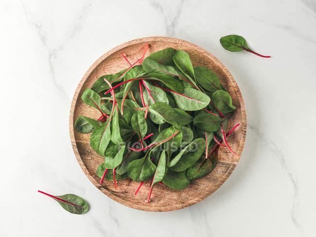 Мангольд свіжий зелений листя на дерев'яні пластини на білому тлі мармурові — стокове фото