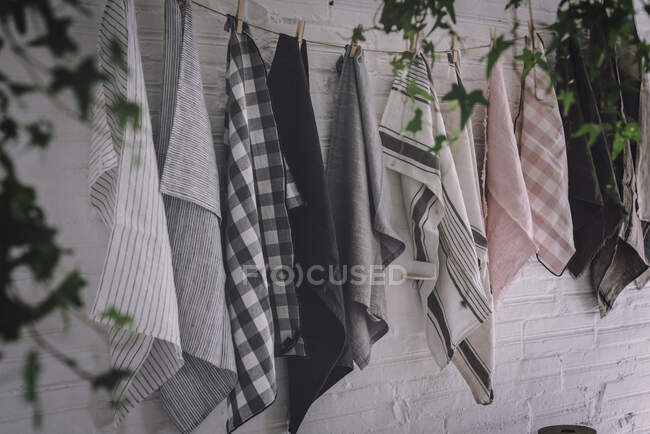Dish cloths hanging on twist with pins — Stock Photo