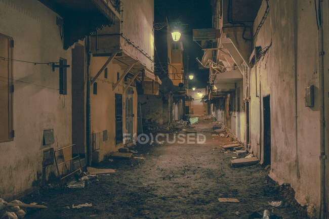 Amazing view of poor street between ancient houses in evening in Marrakesh, Morocco — Stock Photo