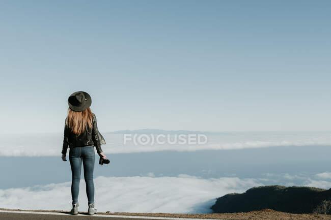 Vista posteriore della donna con macchina fotografica in piedi sulla cima della collina e guardando il paesaggio nuvoloso — Foto stock