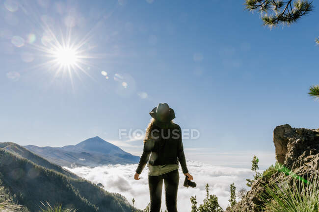 Back view of female photographer standing on the top of the hill looking at forest and cloudscape in sunny day — Stock Photo
