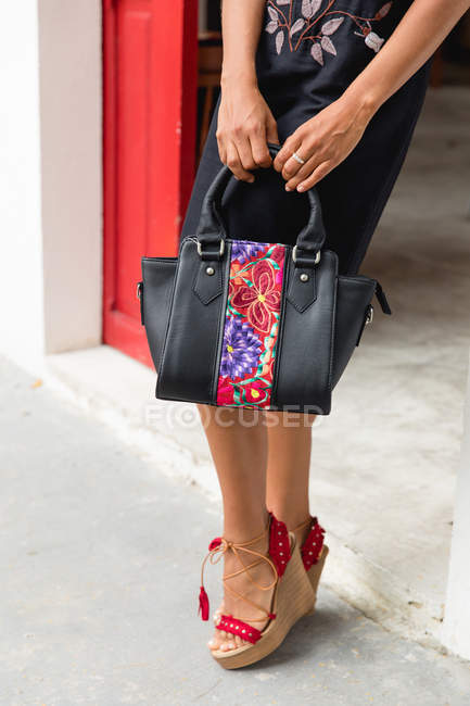 Low section of stylish woman in dress and shoes with handbag standing near red door — Stock Photo