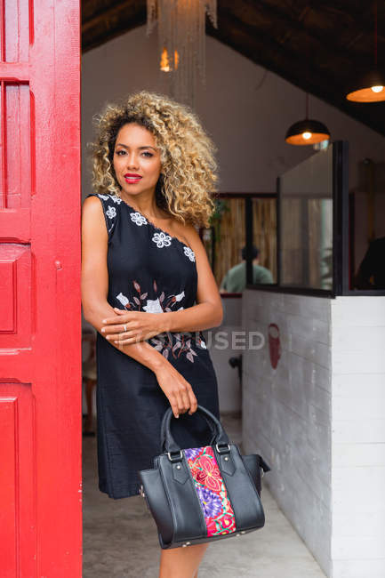 Portrait of sensual stylish black young woman with curly hair and handbag standing near red door of building — Stock Photo