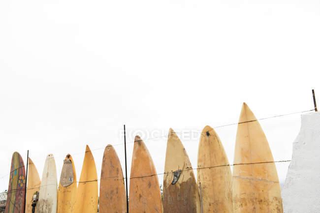 Conceito de cerca feita de velhas pranchas de surf grunge sujo e céu nublado — Fotografia de Stock