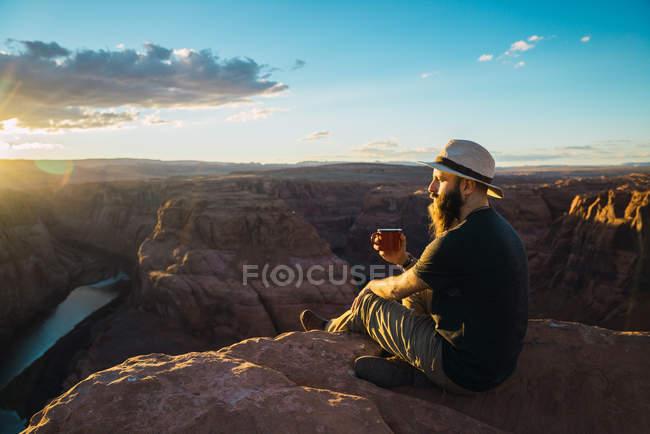 Ведмеді насолоджуються гарячим напоєм і дивляться на сонце, сидячи біля чудового каньйону на західному узбережжі Уси. — стокове фото