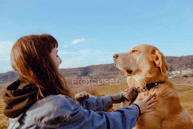 Vista lateral del joven hipster acariciando perro divertido entre prado y cielo azul - foto de stock