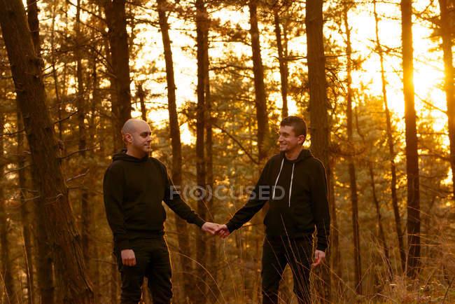 Гомосексуальная пара, держащаяся за руки и идущая по пути в лес на закате — стоковое фото